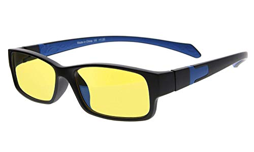 Eyekepper Yellow Tinted Lens 94% Blue Light Blocking Computer Glasses (Black/Blue Arm +1.75)