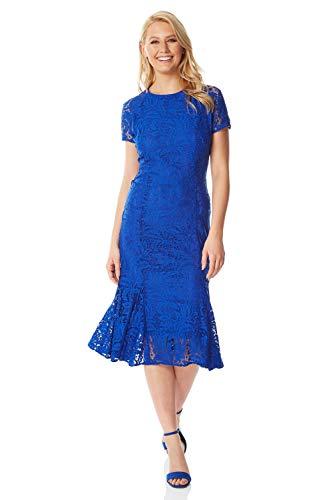 (Roman Originals Women Flute Hem Lace Dress - Royal Blue 16)