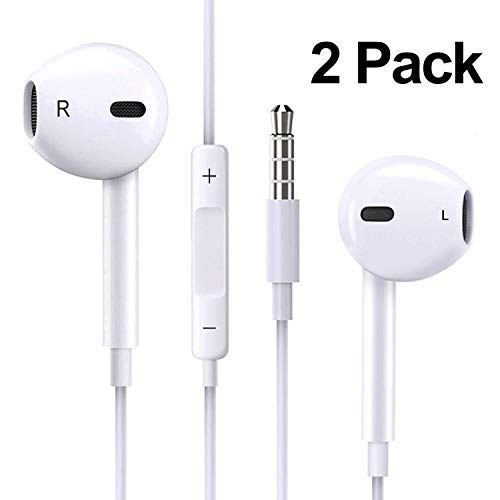 QIANXIANG 2pack 3.5mm Earbuds/Earphones/Headphones,Premium in-Ear Wired Earphones with Remote & Mic Compatible Apple iPhone 6s/plus/6/5s/se/5c/iPad (White)