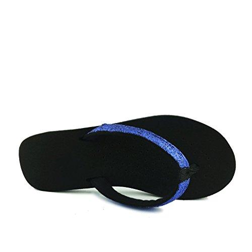7 E 0 Di Estate Uk Femminile Pantofole Blu Ciabattine Moda Paillettes Piatto Sandali Scivolanti dimensioni 4wn7fnBq