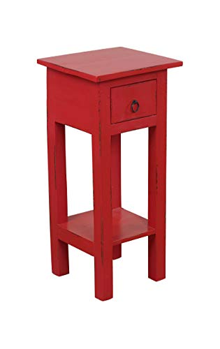 Sunset Trading CC-TAB1792LD-AR Shabby Chic Cottage Table, Small One Drawer, Antique Red