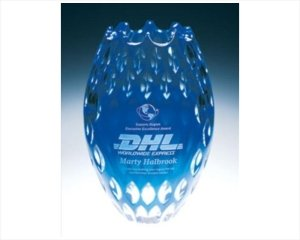 (ANEDesigns Deep Etched Lead Crystal Award Vases Blue Vulcan)