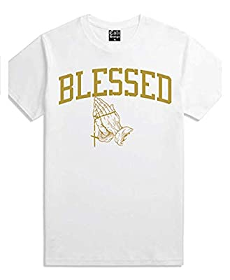 CaliDesign Men's White Gold Praying Hands T Shirt Blessed XXX Rap Migo Gang