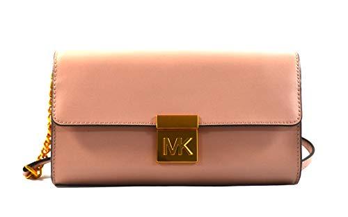 Michael Kors Mindy Leather Convertible Clutch Crossbody Bag Purse Handbag (Fawn) - Clutch Handbag Convertible