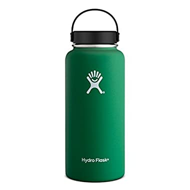 Hydro Flask 18 oz Vacuum Insulated Stainless Steel Water Bottle, Wide Mouth w/Flex Cap, Forest