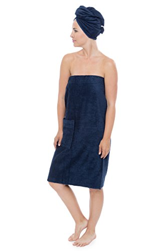Womens Towel Wrap - Bamboo Viscose Spa Wrap Set by Texere (The Waterfall, Midnight Blue, Small/Medium) Easy Care Bamboo Birthday for Women WB0103-MID-SM