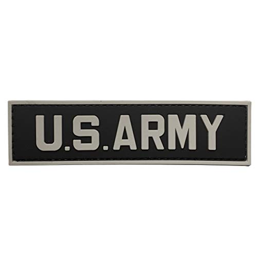 (US Army Tab PVC Rubber Military Morale Patch with Fastener Hooked by uuKen Tactical Gear (Black))