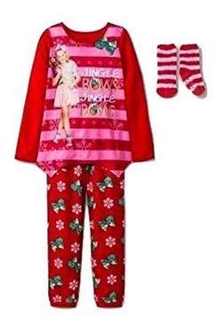 Girls Jojo Siwa 'Jingle Bows' 2pc Christmas Pajama Set (Medium) - Parker Kids Bows