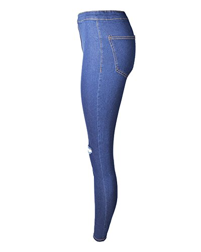 Pantalón Pantalones Color Mujer Vaqueros Sólido Azul Skinny Denim Oscuro Lápiz Jeans Rotos Elástico fvfXFtR