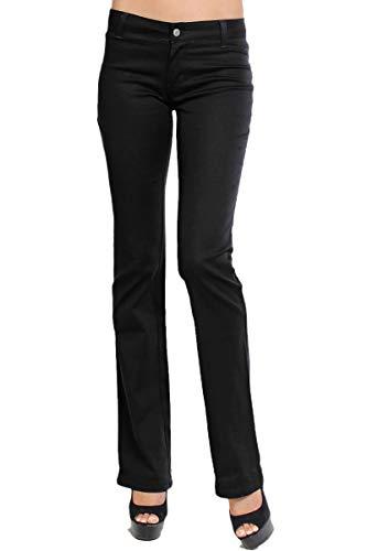 Bootcut Cotton Trousers (TheMogan Junior's DICKIES GIRL Slim Fit Bootcut Leg Worker Pants Black 15)