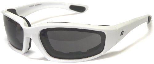 Motorcycle Smoke Riding Glasses Sunglasses with Foam and White Frame Plus Carry...