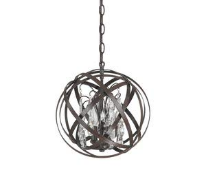(Capital Lighting 4233RS-CR Axis 3-Light Pendant, Russet Finish with Clear Crystal Accents)