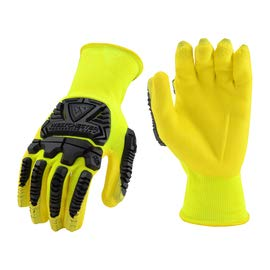 (West Chester 2X 13 Gauge Hi-Viz Yellow Foam Nitrile Palm And Finger Coated Work Glove With Hi-Viz Yellow Seamless Knit Nylon Liner, Knit Wrist And 7 mm Back Of The Hand TPR Impact Protection)