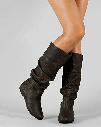 Minetom Moda Pelle Boots Stivali Alti Pieghettati di Stivali Donna da Stivali Autunno Inverno Gli Nero Casual wxvrqwaH