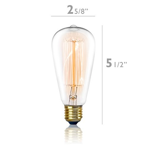 Light 1 Edison Medium - Vintage Edison Light Bulb 60W (1 Pack) - Dimmable Exposed Filament - Incandescent Clear ST58 Teardrop Squirrel Cage Style - E26 Medium Base 2700K - 210 Lumens ... (1 Pack)