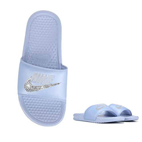 Women's NIKE SLIDES with Swarovski Crystals ALL Baby Blue Benassi JDI Slides Custom Bedazzled Slip On Sandal Shoes