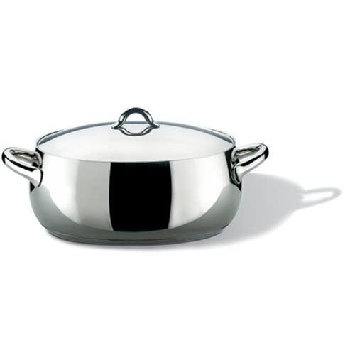 "Alessi,SG112/30 ""MAMI"", Oval casserole in 18/10 stainless steel mirror polished with lid,6 qt 11  oz"