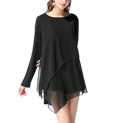 Soie Longues Noir Blouse Shirt Manches Femme de Chemisier Mousseline Bringbring Tops Irrgulire awxqxOpf6T