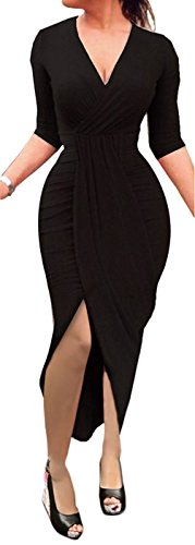 Ruched Little Black Dress (Wancy Womens Sexy Long Sleeve High Low Wrap V Neck Slit Bodycon Party Midi Dresses Black XL)
