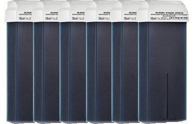Lote de 6 cartuchos de cera tibia de depilación color AZUL, para depilación con bandas Purenail 42474