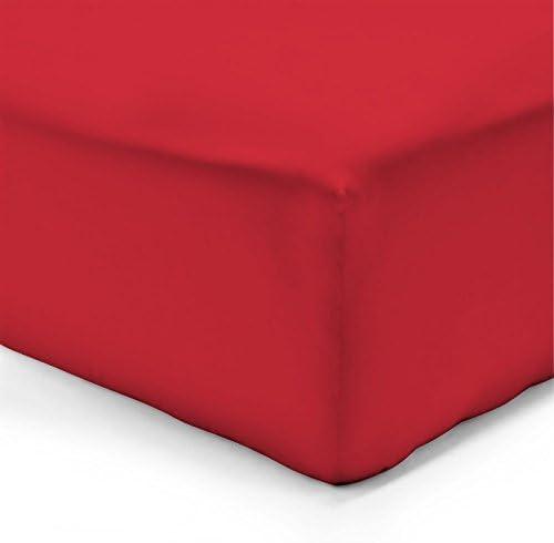 100pourcentcoton-Sábana bajera 180 x 200 CM, color rojo, 100 ...