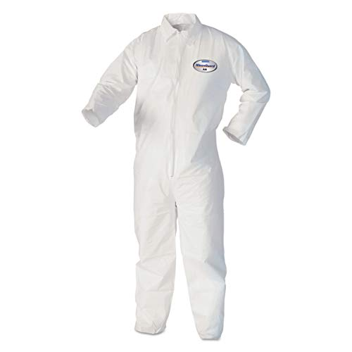 KleenGuard Coveralls A 40 Liquid and Particle Protection Apparel (44303), White, Large, 25 Garments / Case