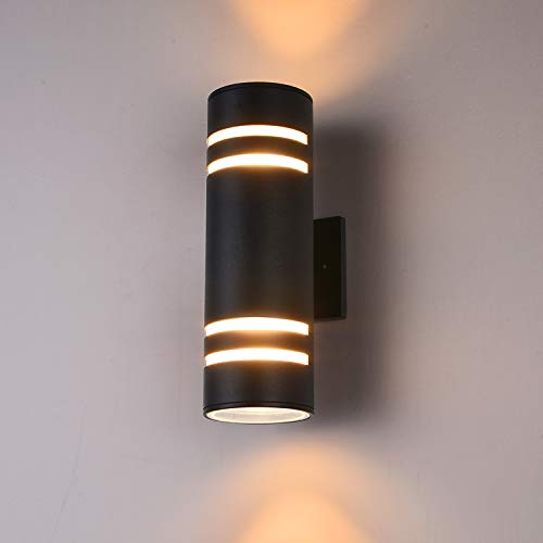 Outdoor Wall Light Fixture, Aluminum Waterproof Outdoor Porch Light, E26 Modern Wall Sconce Up and Down Wall Light, Painted Black,ETL Listed