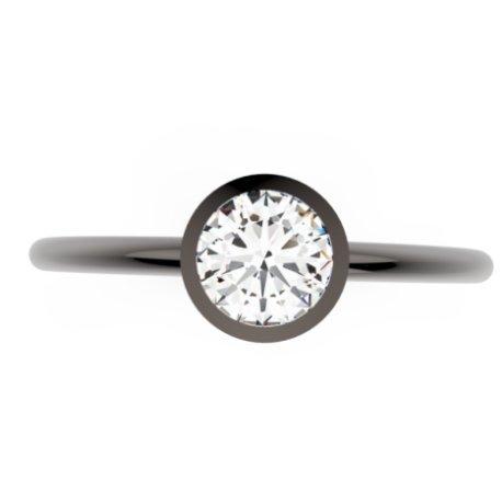 CONTRESS Bagues Or Noir 18 carats Saphir Blanc 0,6 Rond