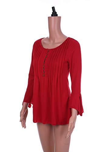 Manga Gran Muesca De Tops Cuello Plisada Camiseta Damas Deep Red Tamaño Para qwCC5Ir