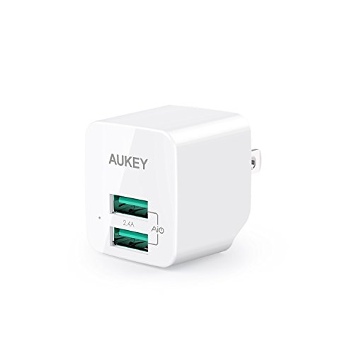 AUKEY USB Wall Charger, ULTRA COMPACT Dual Port 2.4A Output & Foldable Plug for iPhone X / 8 / 7 / Plus, iPad Pro / Air 2 / Mini 4, Samsung and More