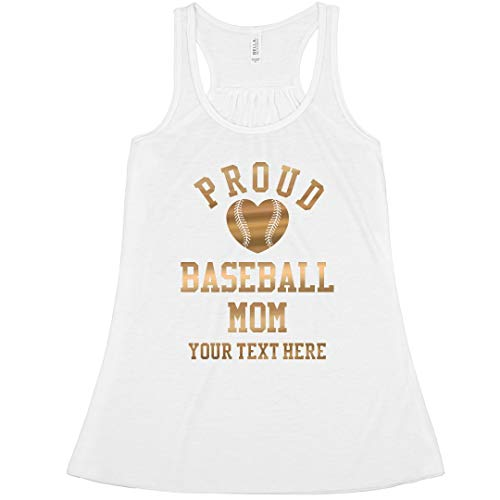 (Gold Proud Baseball Mom Custom: Bella Ladies Flowy Metallic Racerback Tank)