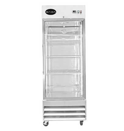 SABA Air 29-Inch 23 Cu. Ft One Section Glass Door Reach-In Refrigerator, ST-23RG
