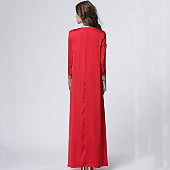 Ni/_ka Robe Vintage Rouge Robe Ceremonie Femme Grande Taille Paillette Couture Musulman Style National Robe Longue