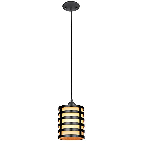 Westinghouse 6000400 Casual One-Light Adjustable Mini Pendant with Oil Rubbed Bronze and Amber Glass Shade, Oil Rubbed Bronze Finish by Westinghouse