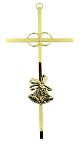 (Gold Tone Plated 50th Wedding Anniversary Wall Cross, 8 Inch)