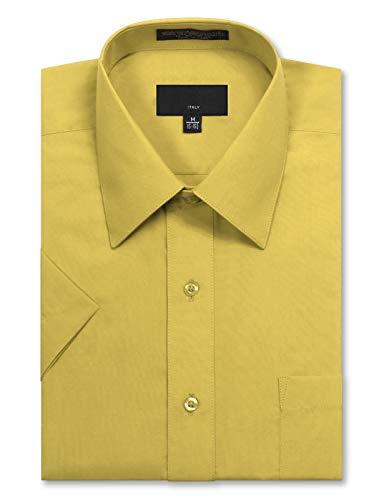 (JD Apparel Men's Regular Fit Short Sleeve Dress Shirts 17-17.5N X-Large Lemon)