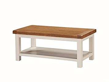 Alba Painted Oak Large Coffee Table With Shelf Painted Oak Living