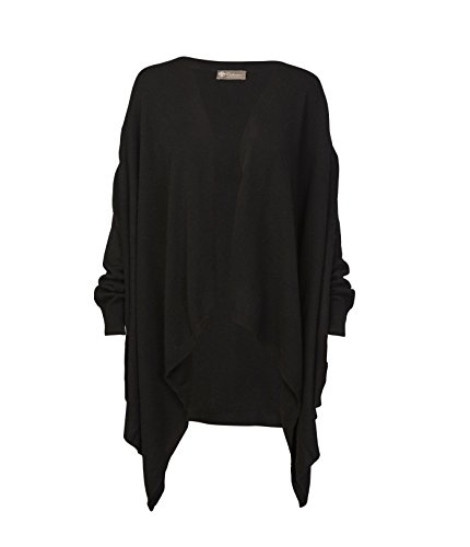 Pure Cashmere Shawl with Sleeves (Black, One Size) by Cashmere Boutique
