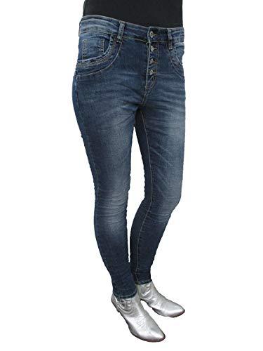Donne Aperto Ragazzo Jeans Di Tratto Scuro Larghi Pantaloni Abbottonatura Denim Lexxury xIHnOAx