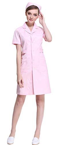 AvaCostume Women's Button Front Solid Hospital Nurse Scrub Dress, Pinks S