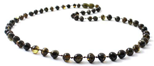 Baltic Amber Necklace for Adults - Size 19.5 inches (50 cm) - Suitable for Women and Men - Polished Dark Green Amber Beads - BoutiqueAmber (19.5 inches, Dark Green)