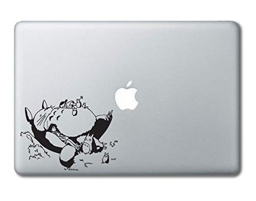 (Totoro Napping on Grass Printed Clear Vinyl Decal Sticker Compatible with Apple MacBook Pro Air 11