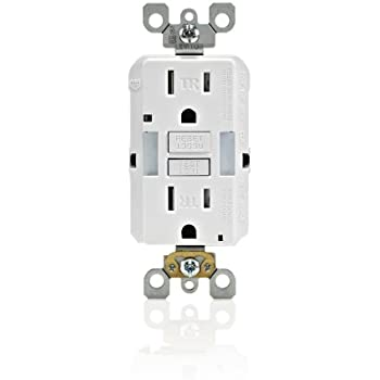 Leviton X7592-W 15 Amp, Slim Guide Light GFCI, SmartLockPro, Monochromatic, Back and Side Wired, Self-Grounding Clip, Tamper Resistant, White
