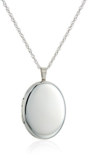 - Sterling Silver Large Polished Oval Locket Necklace, 20