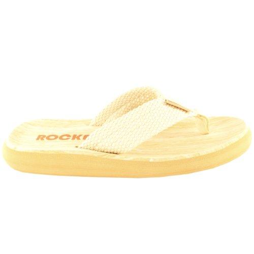 Donna Rocket Dog Sun Deck Estate Slip On Flip Flop Holiday Beach Sandalo Beige