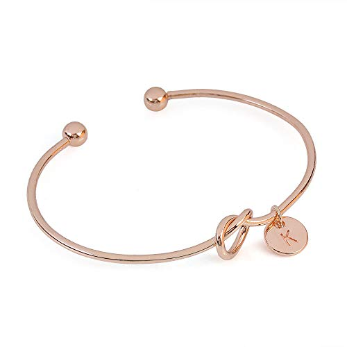 Sinfu Metal Simple Knotted Bracelet Round Include 26 Letter Printing Pendant Wild Girlfriends Bracelet Love Bangle Bracelet-Women Gift (Rose Gold, K)