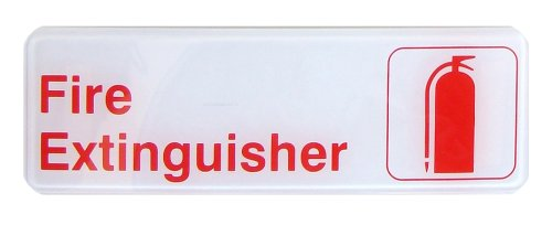 New Star Foodservice 56068 1-Piece 3x 9 Sign Fire Extinguisher New Star Foodservice Inc. Red Plastic
