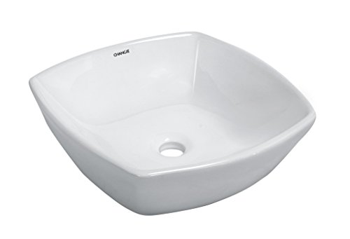 CHANGIE 6060W Above Counter Top Mount Square Bathroom Ceramic Vessel Vanity Basin,White,16-1/2 x 16-1/2 inches