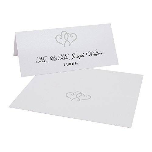 Linked Hearts (Documents and Designs Linked Hearts Easy Print Place Cards, Pearl White, Silver, Set of 50 (9 Sheets))