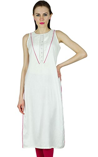 Bimba Women White Long Tunic Ethnic Indian Kurta Kurti for sale  Delivered anywhere in USA